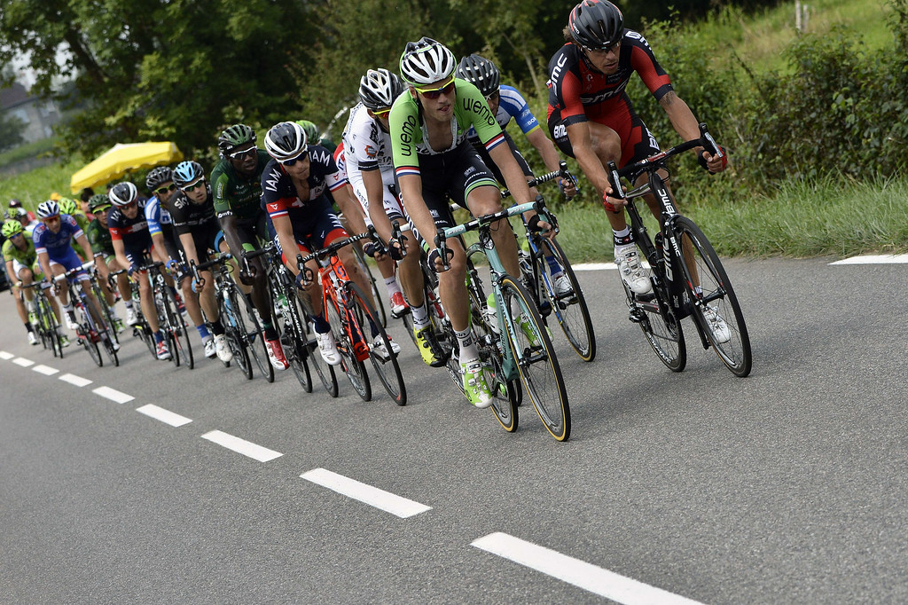 . (From R) Italy\'s Daniel Oss and Netherland\'s Lars Boom lead a breakaway during the 145.5 km eighteenth stage of the 101st edition of the Tour de France cycling race on July 24, 2014 between Pau and Hautacam, southwestern France.  AFP PHOTO / JEFF PACHOUD/AFP/Getty Images