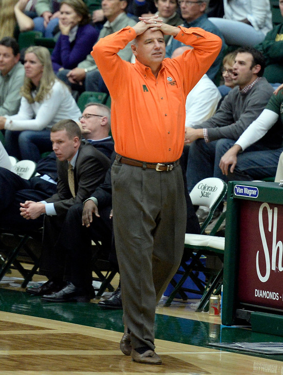 . CSU head coach Larry Eustachy reacts to a call during an NCAA game against CU on Tuesday, Dec. 3, 2013, at the Moby Arena in Fort Collins. Jeremy Papasso/ Camera