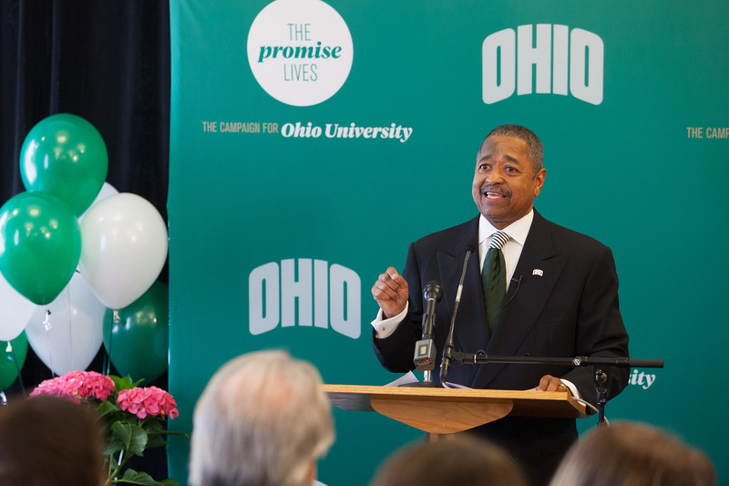 Ohio University President Roderick J. McDavis announces April 29, 2014 that  with a recent contribution to The Promise Lives campaign that the goal of raising $450 million was met 14 months before the deadline.  Photo by Ohio University / Jonathan Adams