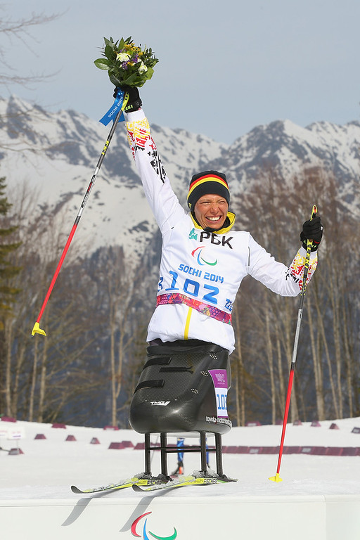 . Andrea Eskau of Germany celebrates winning gold at the flower ceremony after victory in the women\'s 6km Biathlon during day one of Sochi 2014 Paralympic Winter Games at Laura Cross-country Ski & Biathlon Center on March 8, 2014 in Sochi, Russia.  (Photo by Mark Kolbe/Getty Images)