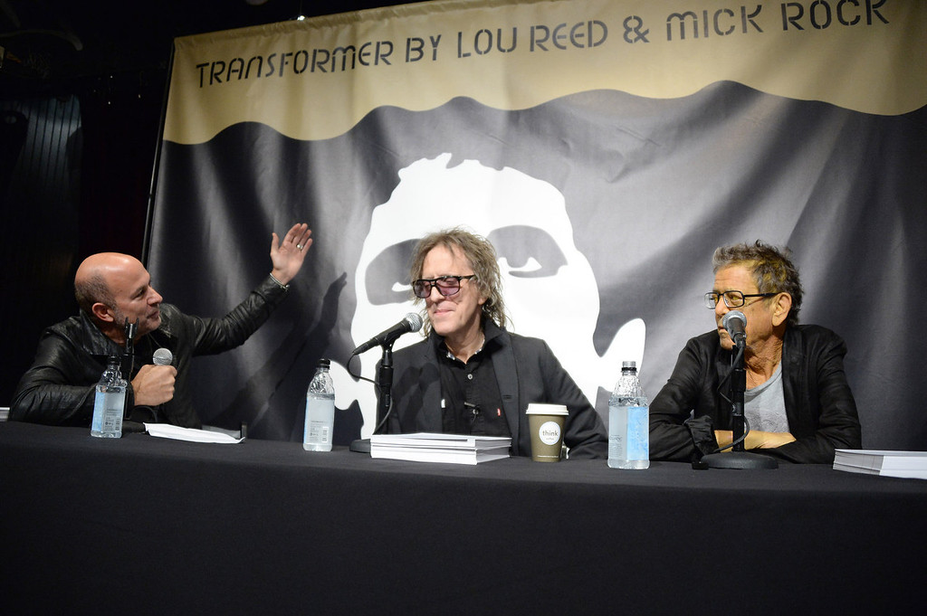 . (L-R) John Varvatos, Mick Rock and Lou Reed speak druing John Varvatos Presents Transformer By Lou Reed And Mick Rock on October 3, 2013 in New York City.  (Photo by Theo Wargo/Getty Images for John Varvatos)