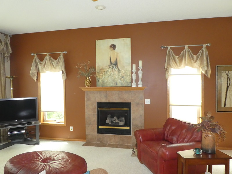 Living area. Added picture and mantle pieces.