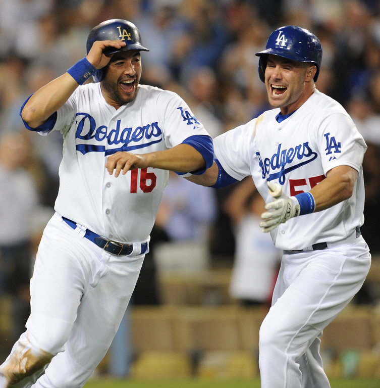 . Dodgers Andre Ethier reacts after being driven in by Mark Ellis in the 9th inning for a walk off RBI to end the game. The Dodgers defeated  the NY Yankees 3-2 in a game at Dodger Stadium in Los Angeles, CA. 7/30/2013(John McCoy/LA Daily News)