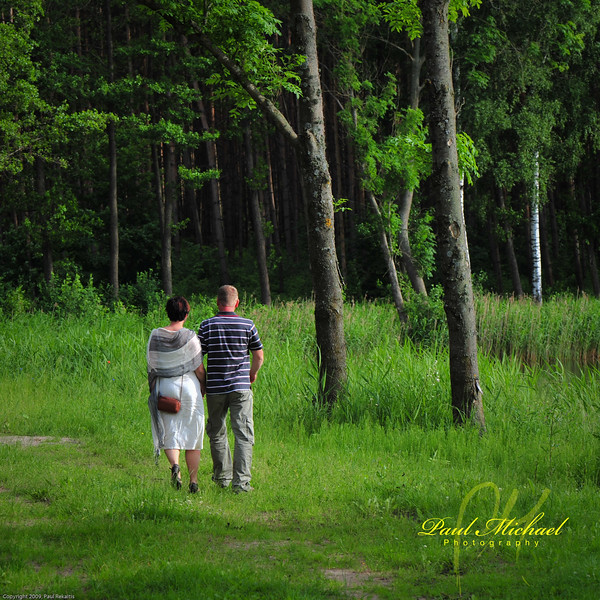 In love and walking through the forest!