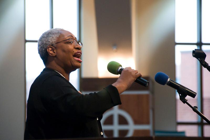 "Carolyn Evans of Ebenezer Baptist Church sings one verse of ""Amazing Grace."" sh"
