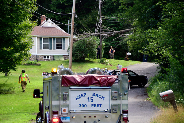 7/25/2018 MIke Orazzi | Staff Terryville Fire Fighters on scene of a tree across Lane Hill Road in Plymouth. The road was closed in both directions and Eversource was responding to the scene.