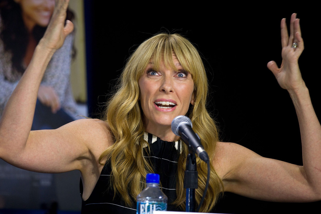 """. Actress Toni Collette speaks during the press conference for \""""Enough Said\"""" at the 2013 Toronto International Film Festival in Toronto on Sunday, Sept. 8, 2013. (AP Photo/The Canadian Press, Galit Rodan)"""