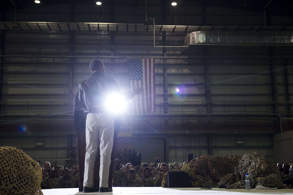 . US President Barack Obama addresses US troops during a surprise visit to Bagram Air Field, north of Kabul, in Afghanistan, May 25, 2014, prior to the Memorial Day holiday.    SAUL LOEB/AFP/Getty Images