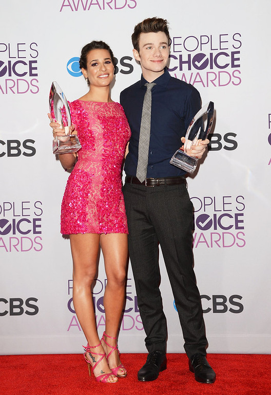 . (L-R) Actress Lea Michele, winner of Favorite TV Comedy Actress, and actor Chris Colfer, winner of Favorite TV Comedy Actor, pose in the press room at the 39th Annual People\'s Choice Awards at Nokia Theatre L.A. Live on January 9, 2013 in Los Angeles, California.  (Photo by Jason Merritt/Getty Images)
