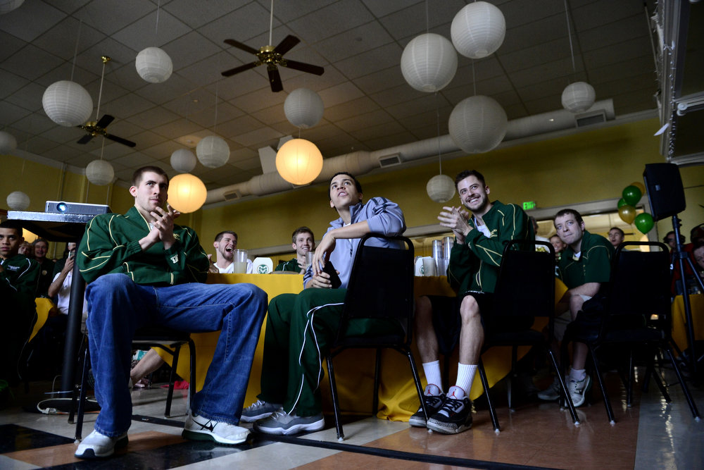 . CSU players react during the NCAA tournament selection show. The Rams earned an eight seed and will play ninth-seeded Missouri in the first round. (Photo by AAron Ontiveroz/The Denver Post)