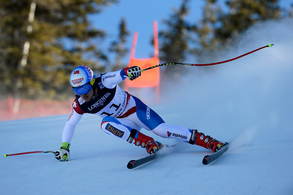 . BEAVER CREEK, CO - FEBRUARY 8: Mauro Caviezel of Switzerland runs the course at the Men\'s downhill portion of the Men\'s alpine combined race at the FIS Alpine World Ski Championships in Beaver, CO. February 8, 2015.  (Photo By Helen H. Richardson/The Denver Post)