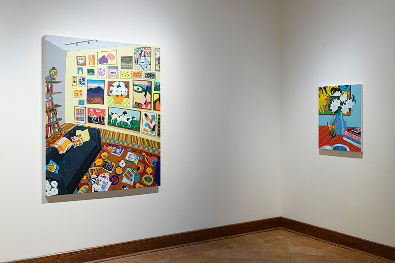 Interior with Books and Paintings 2, 2019 (left); Gardenias and Canary, 2019 (right)