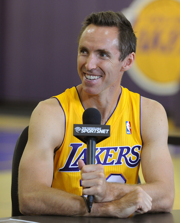 . Steve Nash is interviewed.The Los Angeles Lakers held a media day at their El Segundo practice facility. Players were photographed for team materials, and interviewed by the press. El Segundo, CA. 9/27/2013. photo by (John McCoy/Los An8eles Daily News)