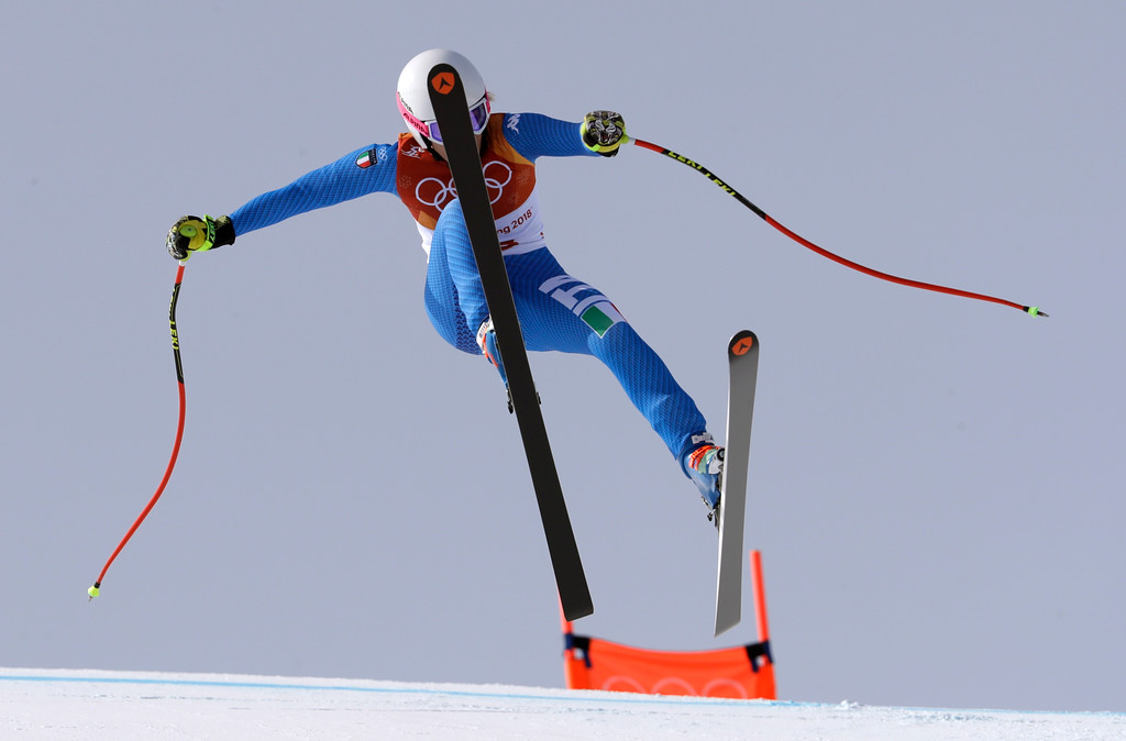 . Italy\'s Nadia Fanchini loses control before crashing in the women\'s downhill at the 2018 Winter Olympics in Jeongseon, South Korea, Wednesday, Feb. 21, 2018. (AP Photo/Luca Bruno)