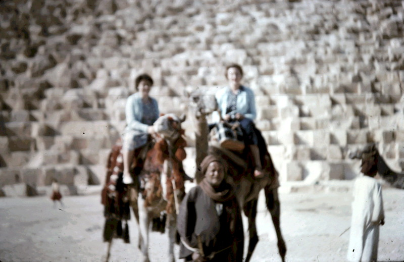 1958-12 (4) Mary A & Mary Law on camels @ Cairo.JPG