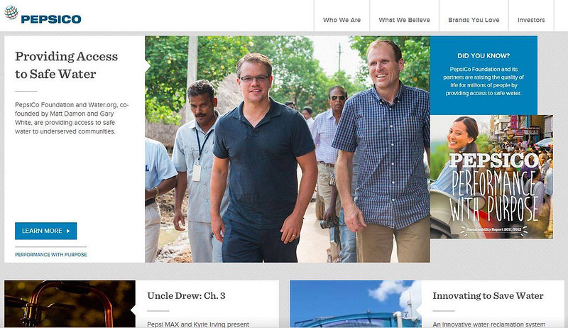 A photograph that i had taken of Matt Damon featured on http://www.pepsico.com/