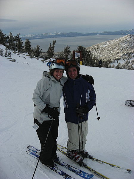 Katy and I at the top of Commit looking down at Lake Tahoe