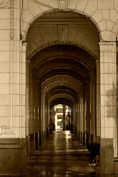 Arches on the east side of the Bay (monochromed)