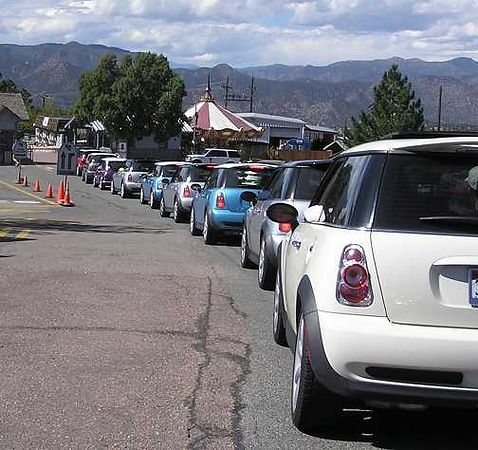 Everybody lines up to pay the fee to drive across the bridge. Thanks to Brad for fanagling a MINI discount!.