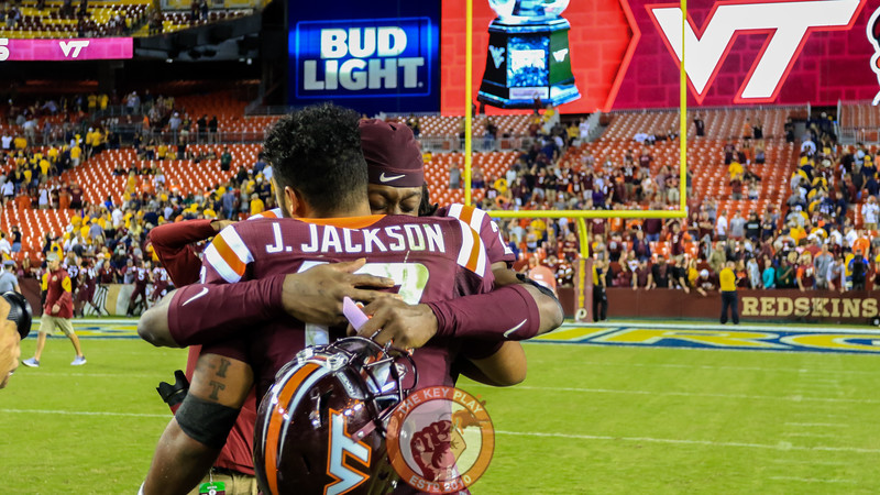 Terrell Edmunds hugs Josh Jackson after his first career start and win. (Mark Umansky/TheKeyPlay.com)