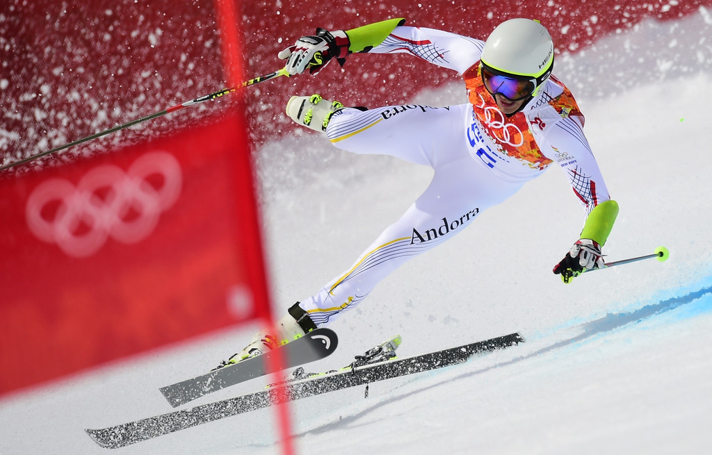. Andorra\'s Joan Verdu Sanchez crashes during the Men\'s Alpine Skiing Giant Slalom Run 1 at the Rosa Khutor Alpine Center during the Sochi Winter Olympics on February 19, 2014. FABRICE COFFRINI/AFP/Getty Images