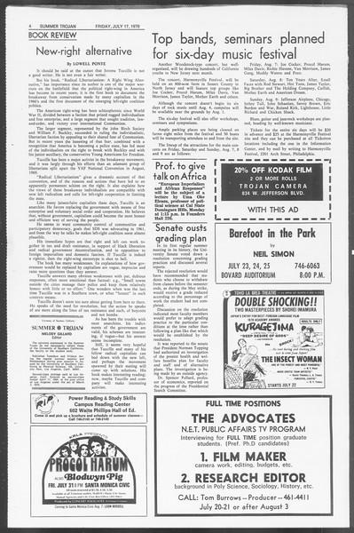 Summer Trojan, Vol. 62, No. 8, July 17, 1970