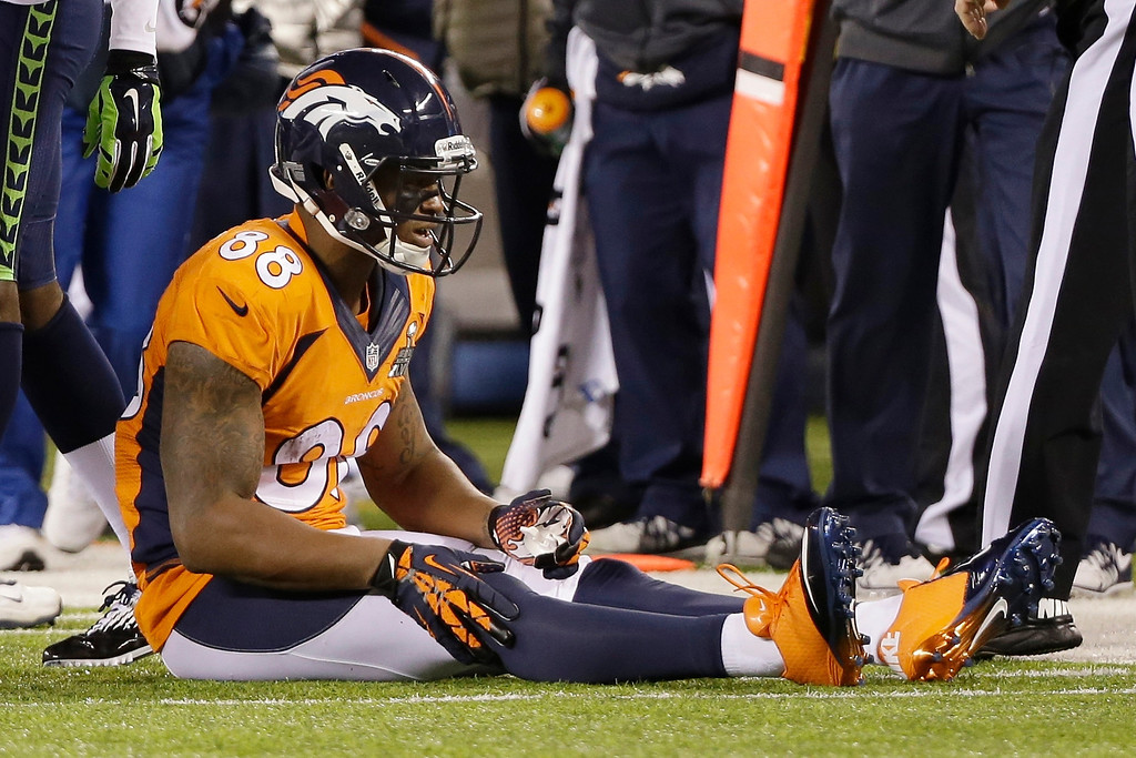 . <p><b>9. DEMARYIUS THOMAS</b> <p>Despite his record 13 receptions, his mother and grandmother catch grief from their fellow prisoners. <p>   (AP Photo/Mark Humphrey)