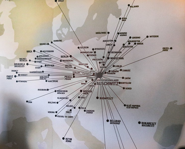 Map showing where the victims of Auschwitz originated.
