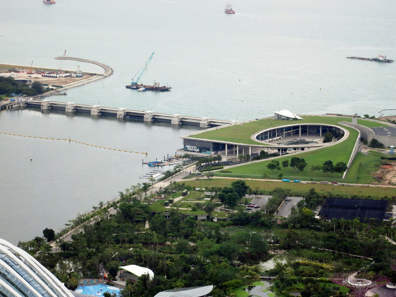 Marina Barrage from Skydeck bar atop Marina Bay Sands.