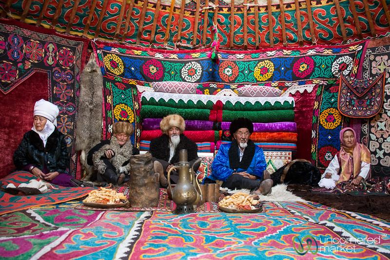 Kyrgyz Family and Elders Inside a Yurt - Kyrchyn Cultural Festival, Kyrgyzstan