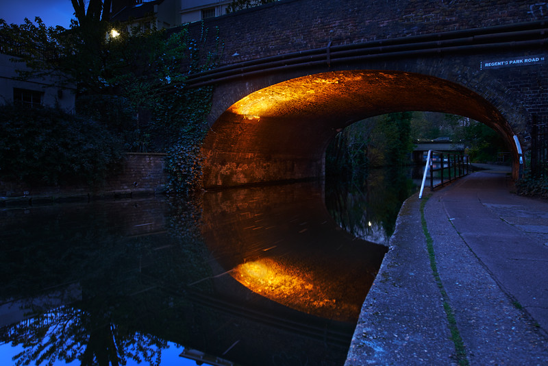 Camden canal bridge by night