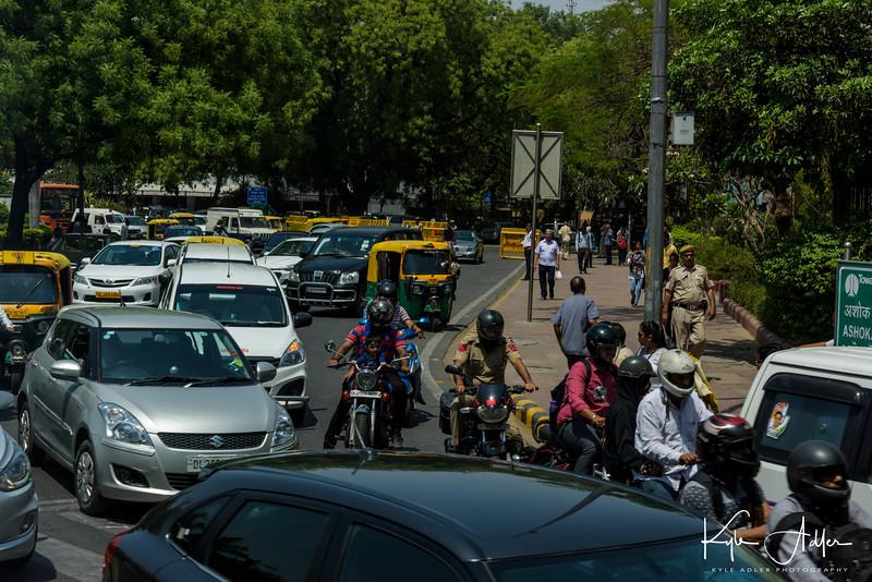 Typical traffic in New Delhi.
