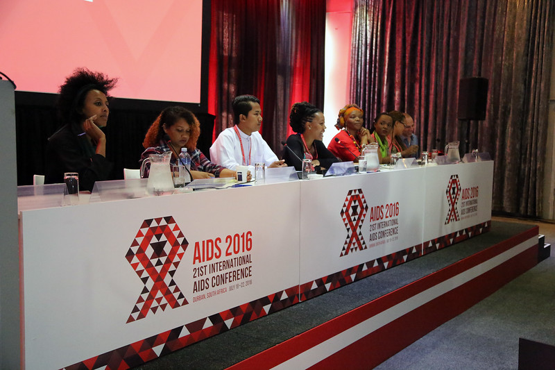 21st International AIDS Conference (AIDS 2016), Durban, South Africa. Monday 18th July 2016, VENUE : Global Village - Room 1 GV MEET THE EXPERTS : GETTING A SEAT AT THE TABLE : YOUNG LEADERS SHARE THE HIGHS AND LOWS OF LEADERSHIP AND ACCOUNTABILITY (MOGS01)  Meheret Melles (USA) L'Orangelis Thomas Negron (Puerto Rico) Myo Thet OO (Myanmar) Ebony Johnson (USA) Jacquelyne Alesi (Uganda) Linda Mafu (South Africa) Nicolas Ndayizeye (Burundi)  Georgina Caswell (South African Translator) Raoul Fransen Dos Santos (Netherlands)  Photo©International AIDS Society/Abhi Indrarajan
