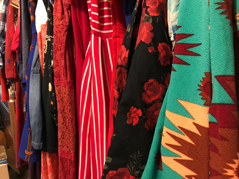 closet full of t-shirt dresses