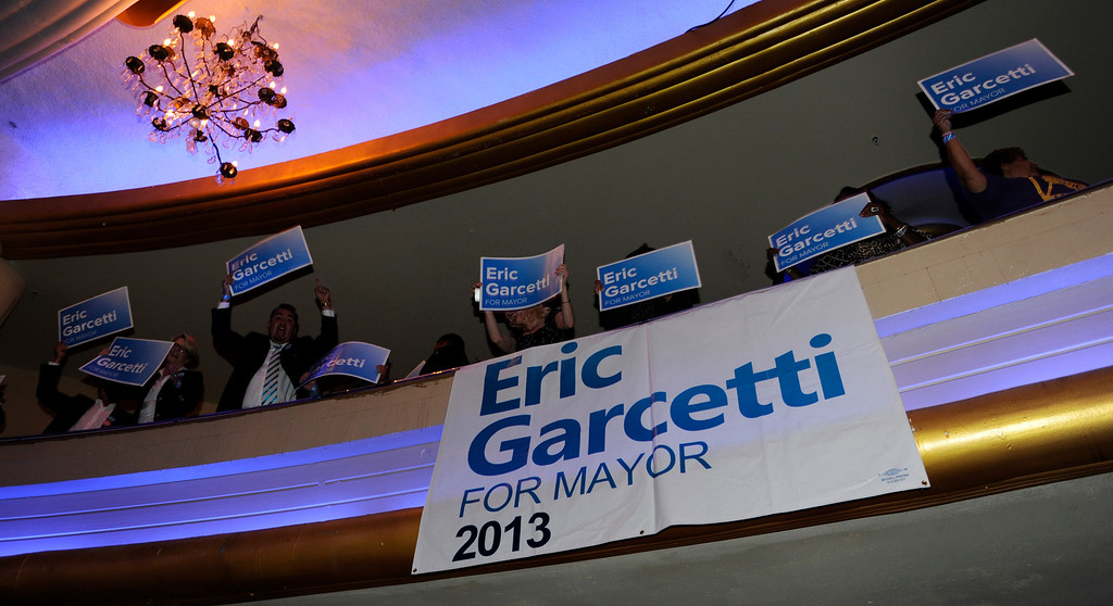 . Campaign supporters wave signs in the balcony. Los Angeles Mayoral candidate Eric Garcetti made his speech. Garcetti held his election night party at The Hollywood Palladium where supporters showed hear him speak. Hollywood, CA 5/22/2013(John McCoy/LA Daily News)