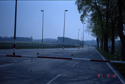 I've parked my car and walked up to the guard shack on the West German side and had nice chats with the German guards.  The actual border right ahead a bit, slightly before the DDR flag flying in the distance.  I am sure while at that spot I was being monitored by the East German tower guards in the distance on the left. I had an erie feeling all the time I was walking around the area.
