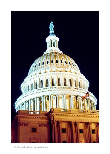 US Capitol Dome at night, Washington, DC