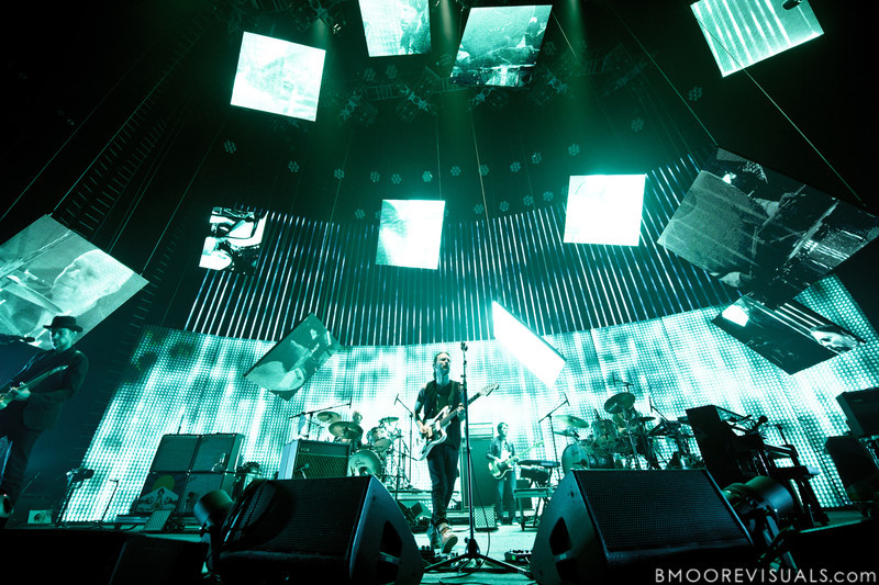 Ed O'Brien, Phil Selway, Thom Yorke, and Colin Greenwood of Radiohead perform on February 29, 2012 at Tampa Bay Times Forum in Tampa, Florida