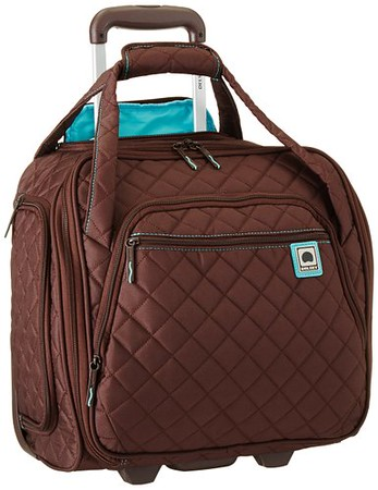 Delsey Rolling Tote fits underneath most airplane seats. It's a great addition to your travel gear.