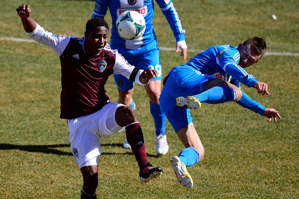 . COMMERCE CITY, CO - MARCH 10: Jose Calderon (5) of the Colorado Rapids and Jack McInerney (9) of the Philadelphia Union contend for the ball during the second half of action. The Colorado Rapids lose 2-1 to the Philadelphia Union at Dick\'s Sporting Goods Park. (Photo By AAron Ontiveroz/The Denver Post)