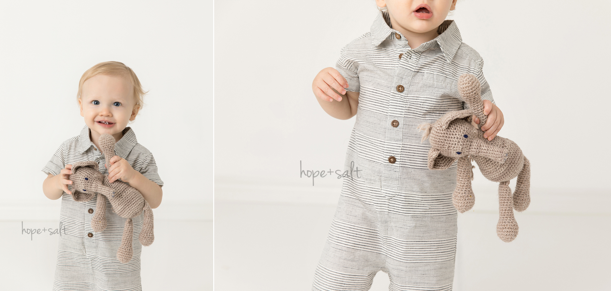 first birthday studio session for one year old boy Braden in candid natural all whites style by Burlington baby Photographer hope and salt including his elephant stuffed animal lovie