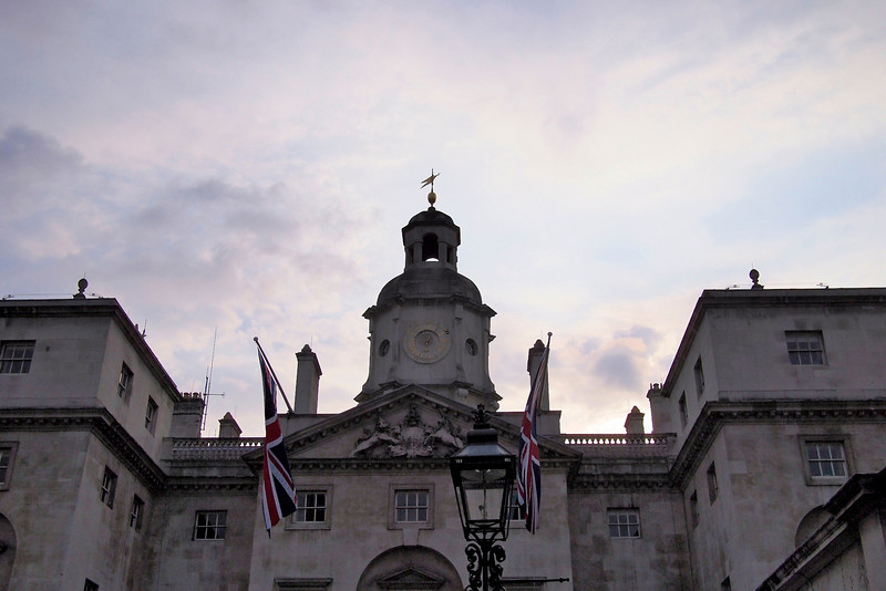 Evening before the Royal Wedding – entrance to Horseguards.