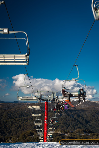 Pre-Spring weather on Mt Buller with Mt Stirling behind