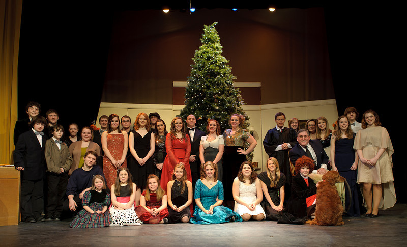 The cast photo, taken immediately following the Saturday matinee performance. I should have asked Ms. Finley to stand in that gap to the right of the Christmas tree!