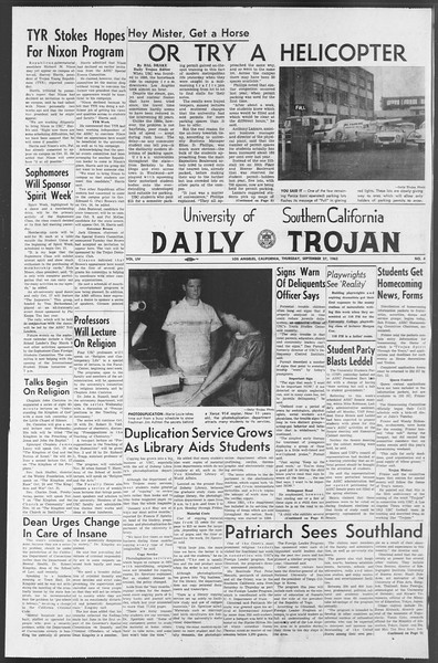 Daily Trojan, Vol. 54, No. 4, September 27, 1962