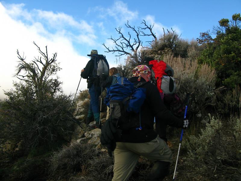 Tom G. leads the way along the ridge