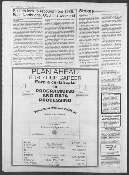 Daily Trojan, Vol. 105, No. 4, September 04, 1987