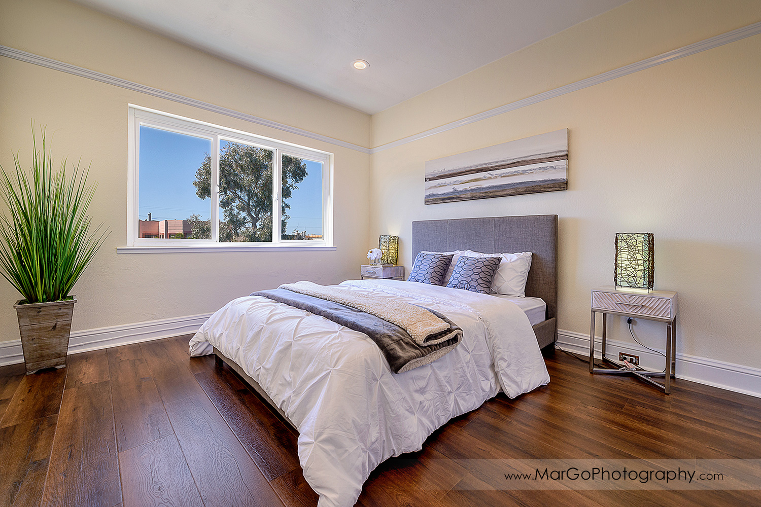 San Francisco house bedroom with window view - real estate photography