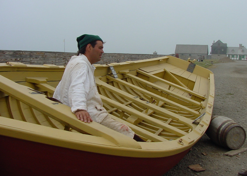 Scene from the Fortress at Louisburg. A Boatsman takes a break