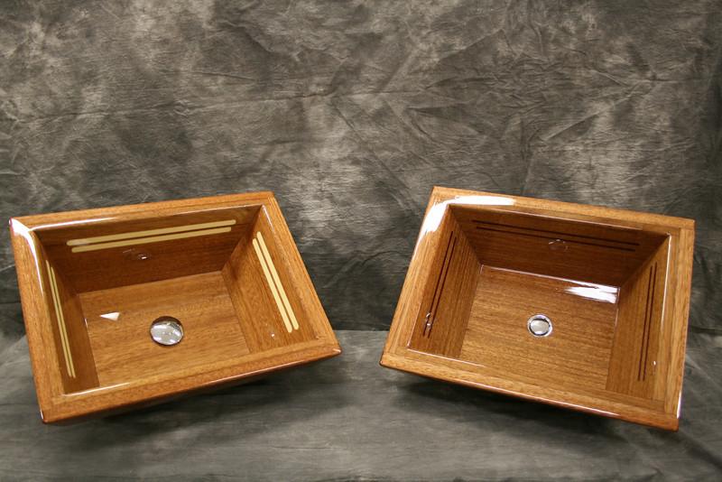 Two new mahogany vanity sinks.